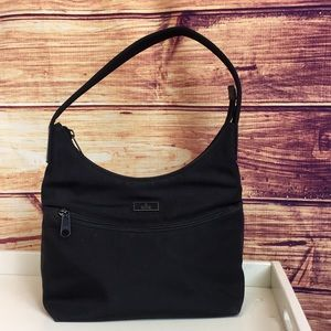 Gucci Black Nylon Shoulder Bag w/ Leather Strap